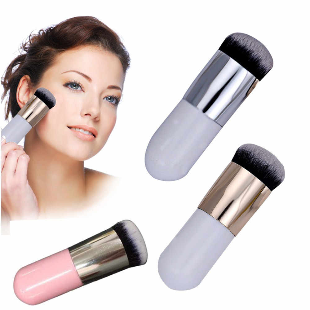 Kanbuder Makeup Sikat Menangani Satu Sikat Mini Flat Kepala Foundation Sikat Profesional Kosmetik Wajah Membuat Sikat Merah Muda