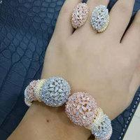 GODKI Trendy Luxury Disco BALL Stackable Jewelry Set For Women Wedding AAA Cubic Zircon Dubai Silver Bracelet Party Bangle Rings