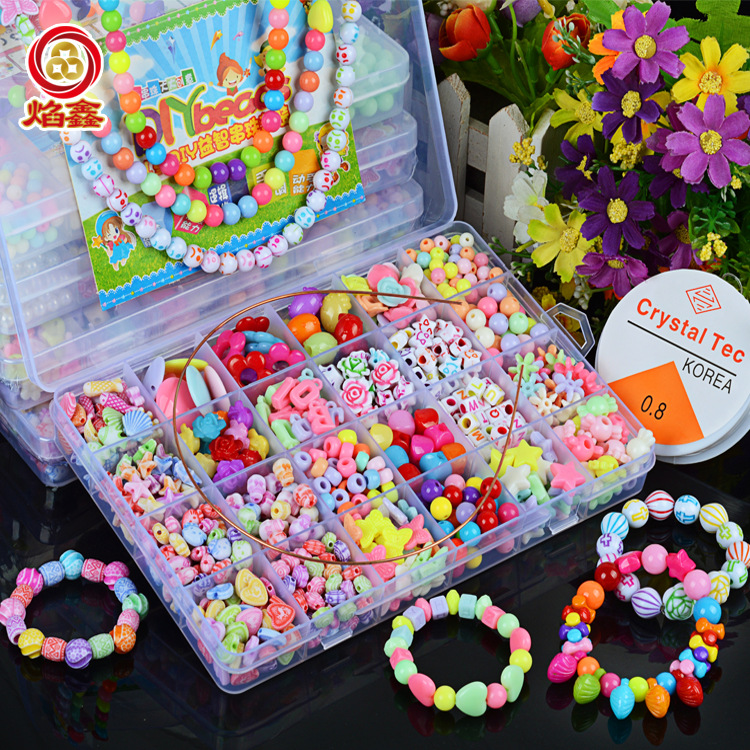 24 Lattice Beaded Bracelet Children Bead Toy DIY Hand-made GIRL'S Handmade Bead-stringing Toy Wear Necklace Bracelets Educationa