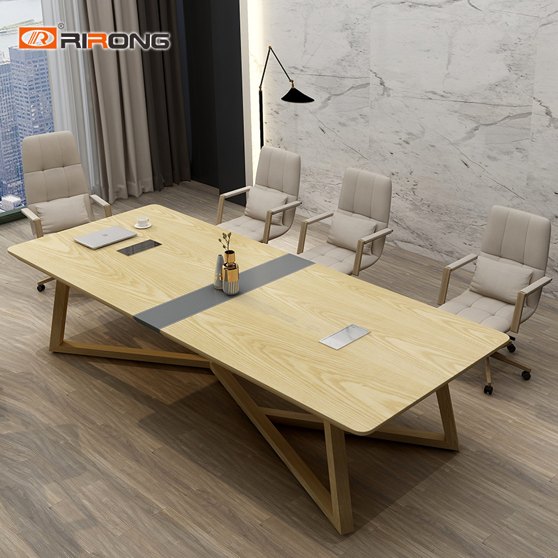 Nordic Style Rectangle Wood Leather Furniture Office Conference Tables Meeting  Room Conference Table Desk Set
