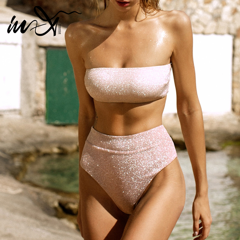 In-X Pink High Waist Bikini 2020 Strapless Swimsuit Female Bandeau Swimwear Women Biquinis Shiny Bathing Suit Two Piece Suits