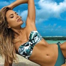 Bikini Women Swimsuit Biquini Beachwear Push-Up Female Sexy Solid-Color Bandeau