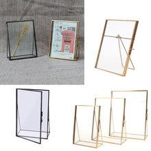 Cadre de Photo en verre doré Antique | Rectangle Simple, cadre Photo de bureau pliable, cadres en laiton pour Portraits et paysage, décoration de la maison