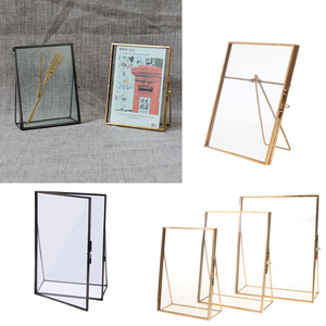 Simple Antique Gold Rectangle Glass Photo Frame Folding Desktop Picture Brass Frames for Portraits and Landscape Home Decoration