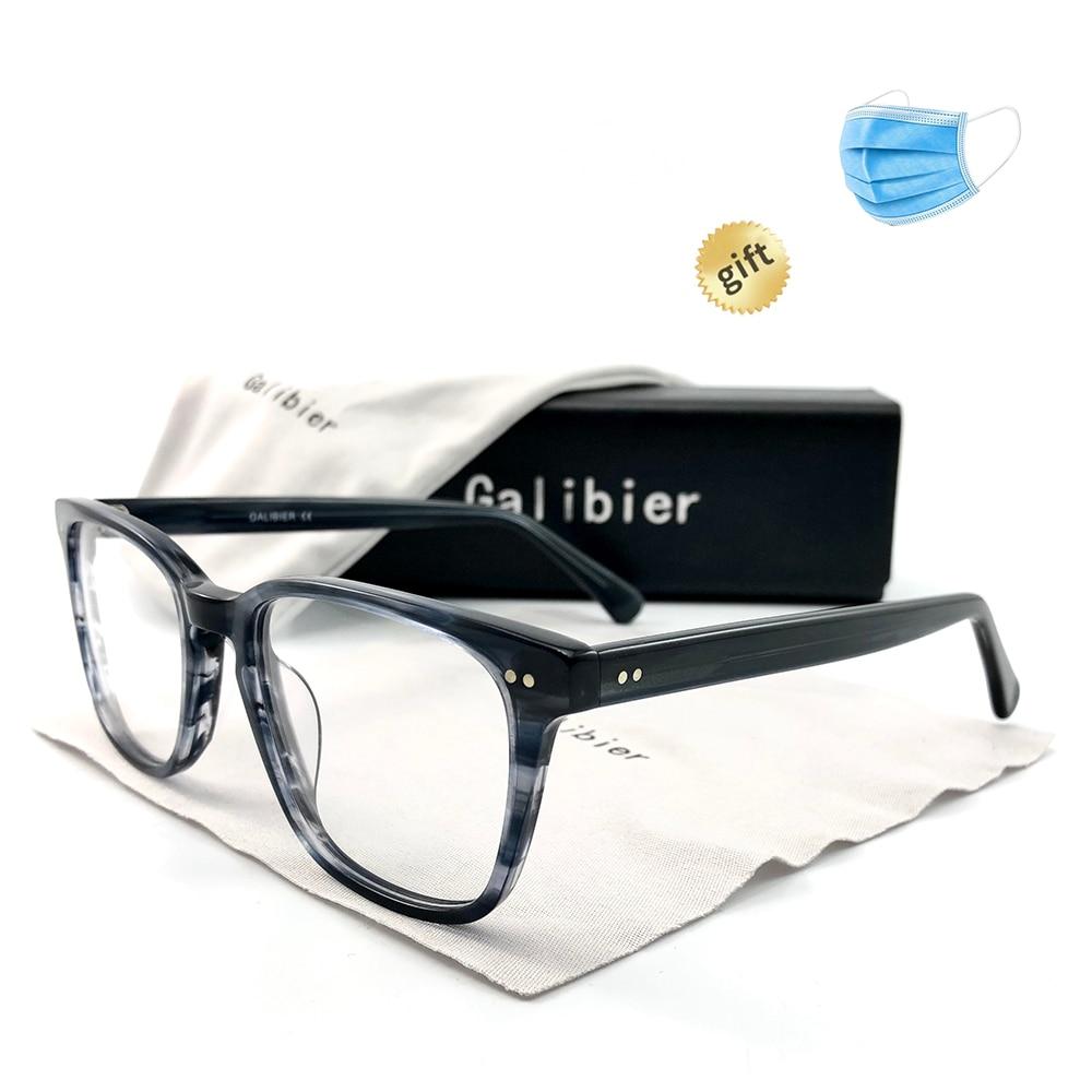 GALIBIER Glasses Frame Men Optical Rectangle Black Gray Tortoise Vintage Eyeglass Frames Men Acetate Glasses