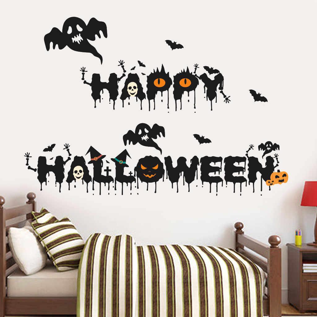 Pegatinas de pared feliz Halloween calabaza Castillo araña ventana hogar fiesta decoración DIY vinilo extraíble pegatina de pared