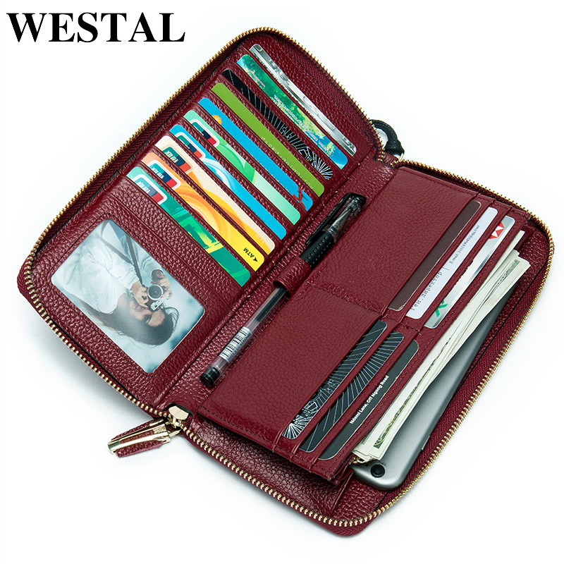 WESTAL women's wallet genuine leather purse for lady clutch bag wallet long fashion women card holder coin purse money bag 8875