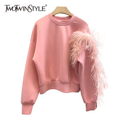 TWOTWINSTYLE Casual Patchwork Feather Sweatshirt For Women O Neck Long Sleeve Pink Sweatshirts Female 2020 Fashion New Autumn