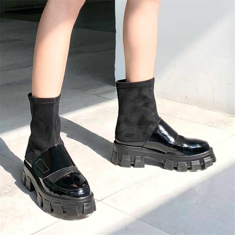 Prova Perfetto נשים של פלטפורמת מגפי אופנה עגול הבוהן כיכר העקב וו & לולאה פאנק מגפי גבירותיי נעליים יומיומיות אישה קרסול מגפיים