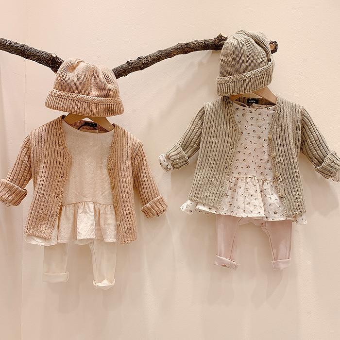 2020 jesień nowy sweter dla dziewczynki pojedyncze piersi dziecko dzianiny V Neck Boys Baby długi sweter z rękawem maluch dziecko dziergany sweter