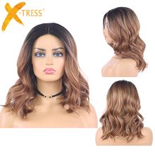 Ombre Brown Colored Synthetic Lace Wigs For Black Women Natu