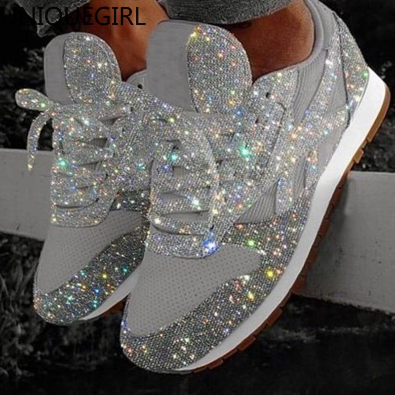 2020 Autumn Women Bling Sneakers New Casual Flat Ladies Vulcanized Shoes Beathable Lace Up Sneakers Outdoor Sport Shoes
