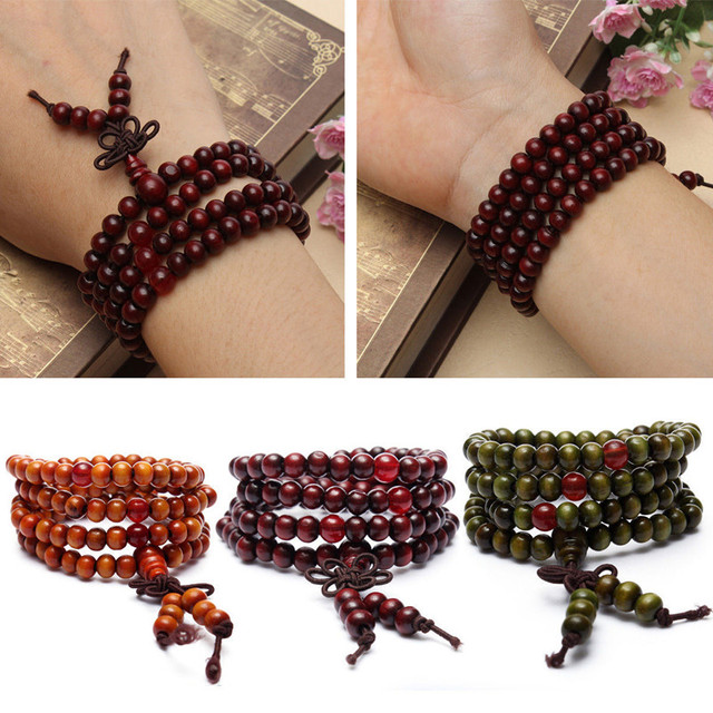 1pc Sandalwood Buddhist Meditation Prayer Bead Mala Bracelet