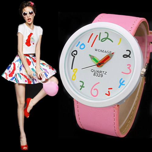 2019 Women Watches Womage Creative Design Multicolor Pencil Needle Cartoon Watches Big Number Watches Girls Relogio Masculino