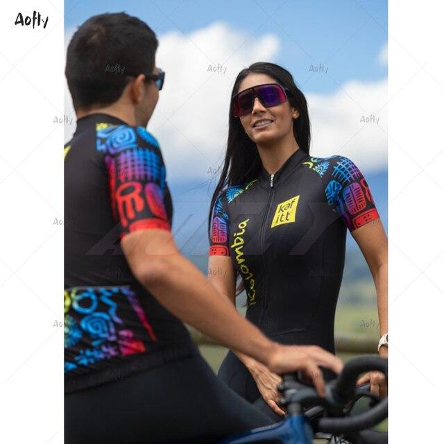 Kafitt das mulheres colômbia preto profissional de manga curta casal ciclismo triathlon terno ciclismo conjunto skinsuit maillot ropa ciclismo conjunto feminino ciclismo macacao ciclismo roupas com frete gratis 5