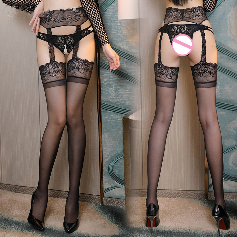 Sexy Thigh High Stockings Embroidery Lace Pantyhose Black Garter Pantyhose Sexy Erotic Temptation Open Crotch Stockings Lingerie