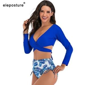 Image 5 - 2020 סקסי גבוה מותן ביקיני בגדי ים נשים ארוך שרוול בגד ים צלב ביקיני סט מוצק למעלה הדפסת תחתון בגד ים Tankini XXL