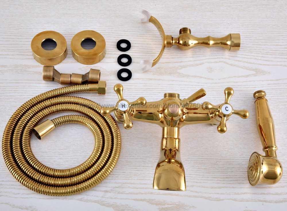ウォールマウントバスタブ蛇口ゴールドカラー真鍮浴槽シンクの蛇口電話スタイルのバスルーム風呂シャワーセット Handshower と Nna846