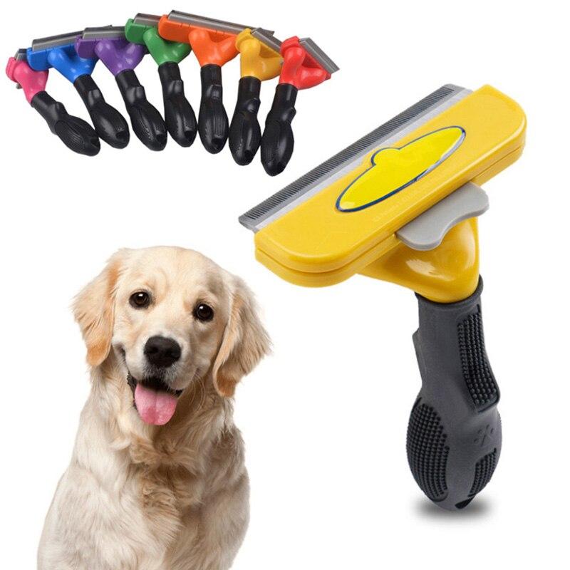 Новинка 2020, удобная расческа для удаления волос для домашних животных, расческа для ухода за кошками, собаками, щенками, котятами, триммер, р...