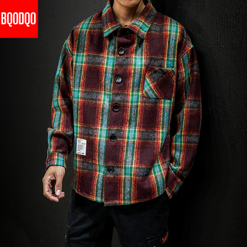 Winter Preppy Style Casual Plaid Flannel Shirt Men Streetwear Fashion Military Tops Male Japanese Long Sleeve Thick Shirts 5XL