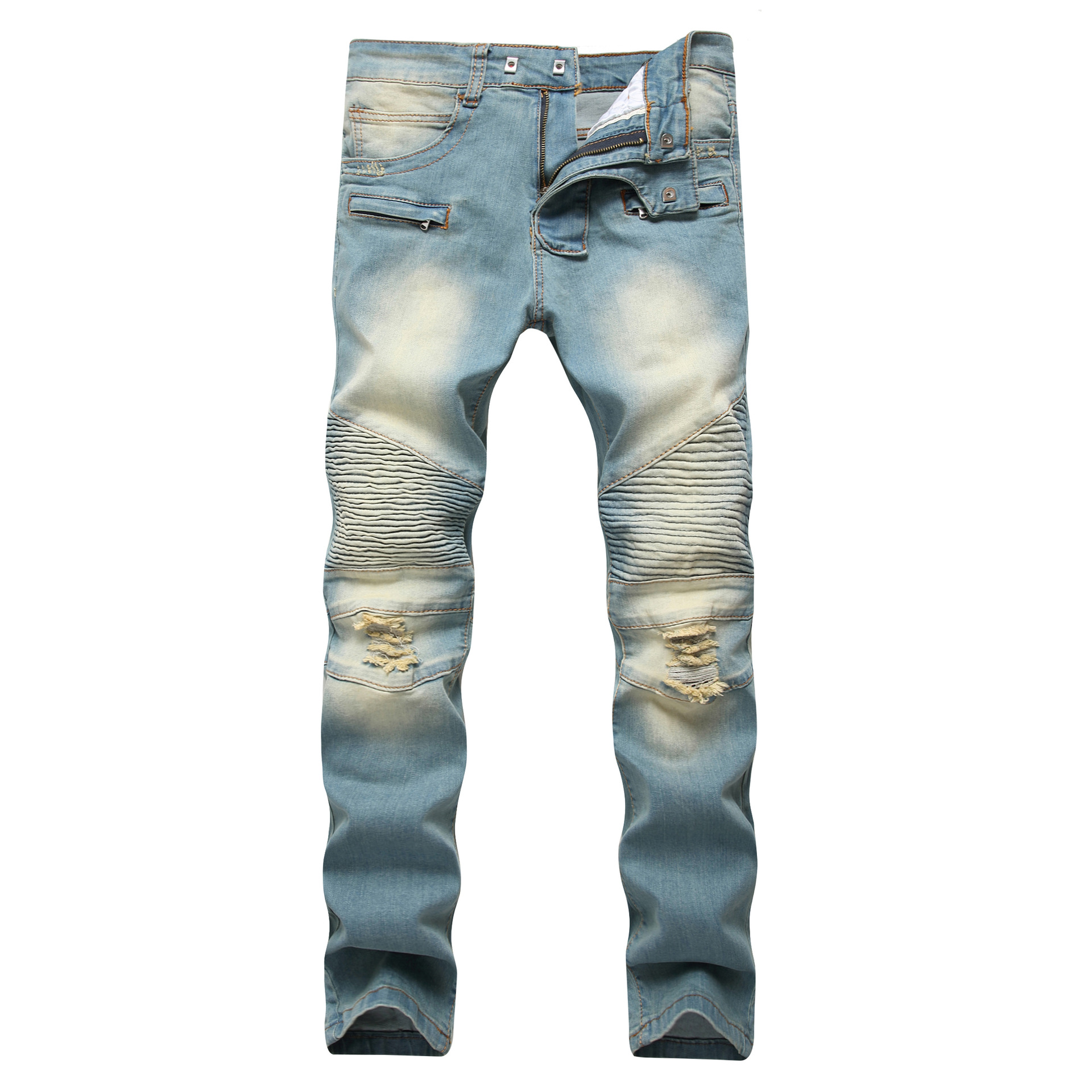 MEN'S WEAR Zipper Decorations Jeans With Holes Drag Yellow Nostalgic Men Europe And America High Street Stretch Trousers