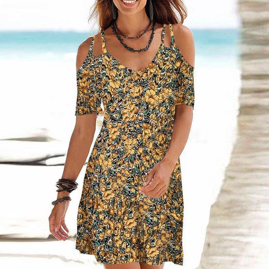 2021 Woman Summer Dress Sundress Boho Print Dresses For Women Beach Dress Casual Short Sleeve Office Lady Party Vestidos 7