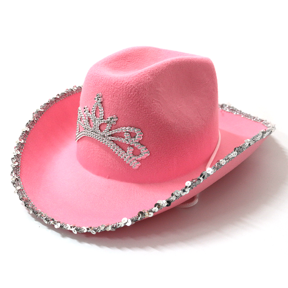Western Country Cowboy Hat Pink with Tiara and Adjustable String Felt Cowgirl Cap for Women Girls Holiday Costume Party Hat