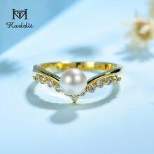 Kuololit 100% Moissanite 10K Gelb Gold Ringe für Frauen Runde Echte Weiße Frische Perle Ring für Verlobung, Hochzeit Braut geschenk