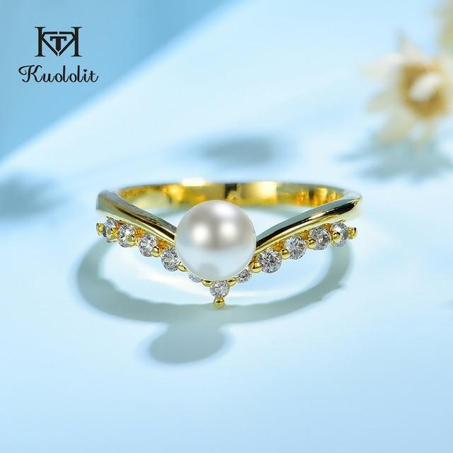 Kuololit 100% Moissanite 10K żółte złote pierścionki dla kobiet okrągły prawdziwy biały perła słodkowodna pierścionek zaręczynowy panna młoda prezent