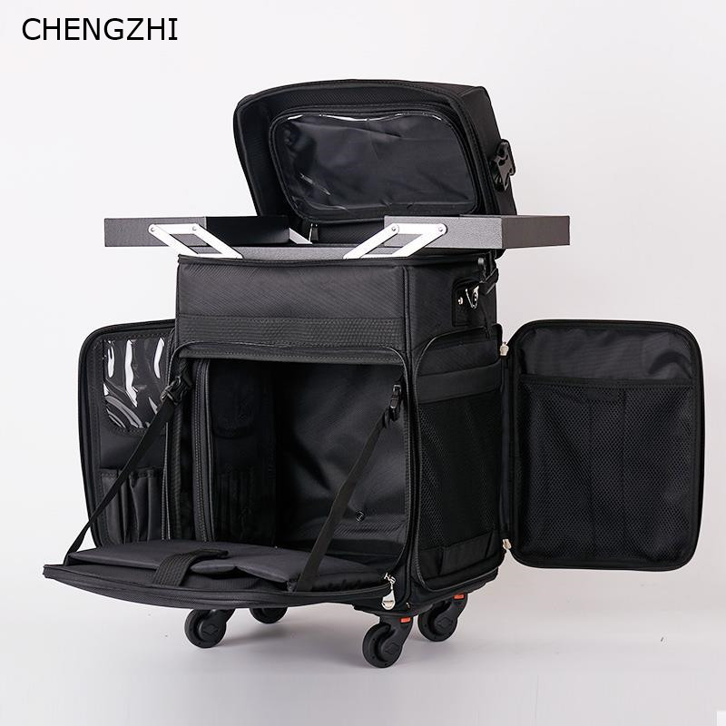 CHENGZHI Multifunction Tattoo Cosmetic Case Rolling Luggage Spinner Women Professional Nail Makeup Trolley Suitcase Wheels
