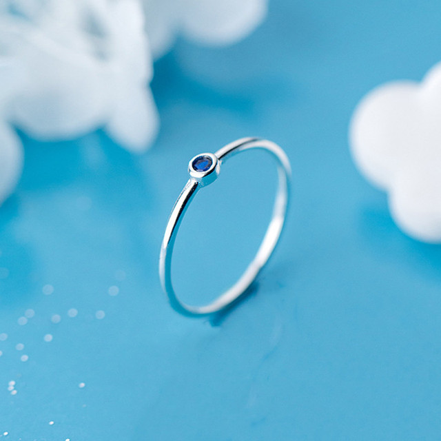 INZATT Real 925 Sterling Silver Blue Zircon Round Ring For Fashion Women Cute Fine Jewelry 2019 Minimalist Accessories Gift 5