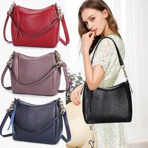 Image 3 - Crossbody Bags For Women Soft Leather Handbags Vintage Women Shoulder Messenger Bags Designer Sac Top handle Bag Bolsas Feminina