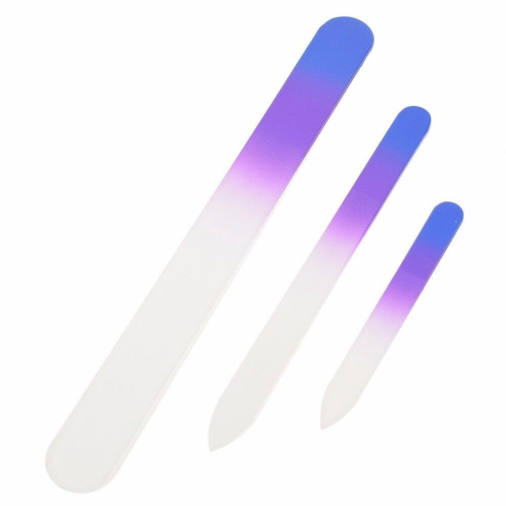 3Pcs/Set Professional Crystal Glass Nail Art Files Double Sided Purple/Pink Manicure Buffering Set Women Nail Beauty Tools