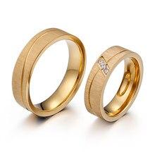 Luxo dubai ouro cor casal anéis de casamento para homem e mulher casado amor aliança 316l aço inoxidável anel de jóias casamento