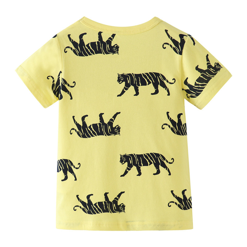 Jumping meters Summer 100% Cotton Boys Girls T shirts Tigers Print New  Baby Clothes Hot Selling Boys Tees Animals Kids Tops 2