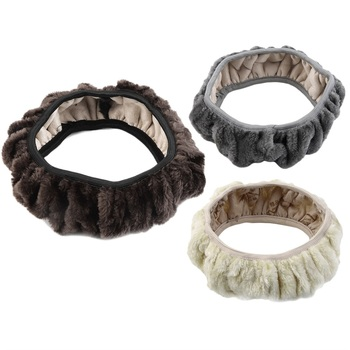 New Arrival Winter Steering Wheel Cover Artificial Wool Heated Steering Wheel Cover Winter Plush Steering Wheel Cover image