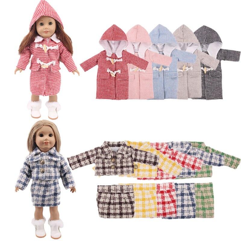 Костюм с платьем и 5 пальто, подходит для осени и зимы, 18 дюймов и новорожденных, подарки на день рождения, игрушки для девочек, 5 комплектов