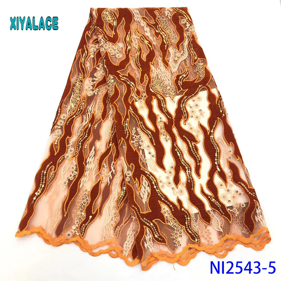 African Lace Fabric Latest 2019 High Quality Lace Sequins French Lace Fabric Bridal Lace For Nigerian Party Dress YANI2543B-5