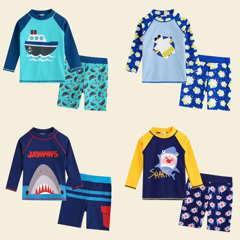 KID'S Swimwear BOY'S Swimming Trunks Split Type Long Sleeve Sun-resistant Quick-Dry South Korea Big Virgin Boy Baby Cute Swimwea