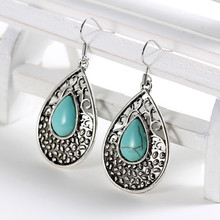 Fashion Lucky Earrings Jewelry Gift for Women Vintage Silver Turquoises Water Drop Shape Earrings Drop Dangle Lovely Earring цена