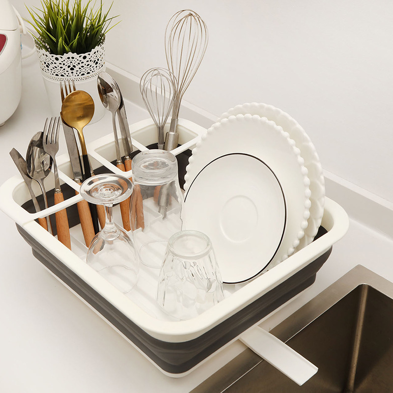 New Style Folding Dish Rack Tableware Placed Rack Portable Dish Rack TPR Dish Rack Tableware Storage Basket