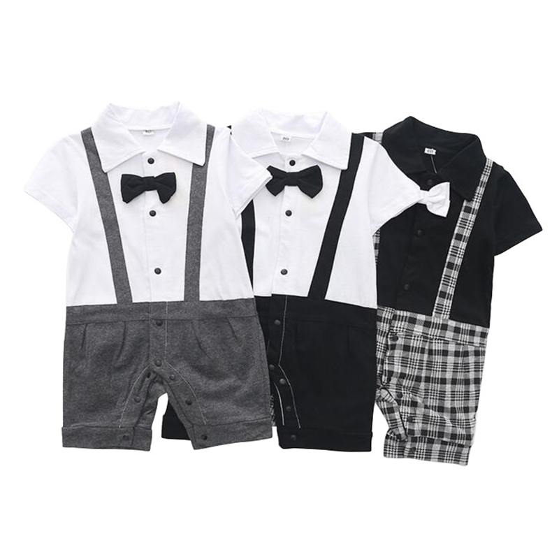 Baby Boy Formal Outfit Gentlemen Suit Toddlers Short Sleeve Tuxedo Romper Suspenders Shorts Snap Closure
