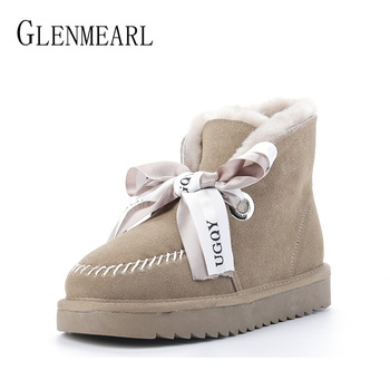 Women Boots Genuine Leather Cowhide High Quality Winter Snow Boots Real Wool Fur Australia Classic Woman Ankle Boots Warm Size 100% genuine leather natural fur snow boots warm wool women boots classic waterproof ankle boots women shoes lady winter boots