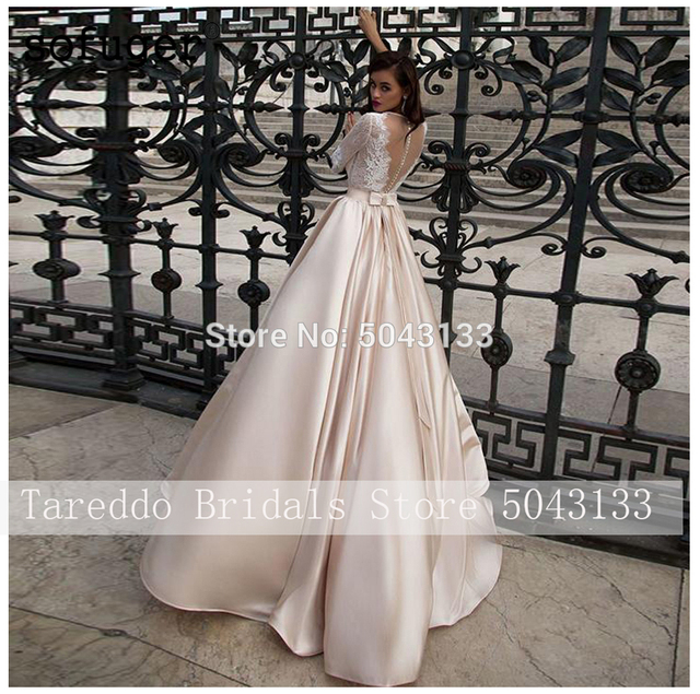 Elegant Satin Wedding Dresses With Pocket Vestidos Noiva Lace Half Sleeves Bridal Gowns 2020 Floor Length Champagne Bride Dress 4
