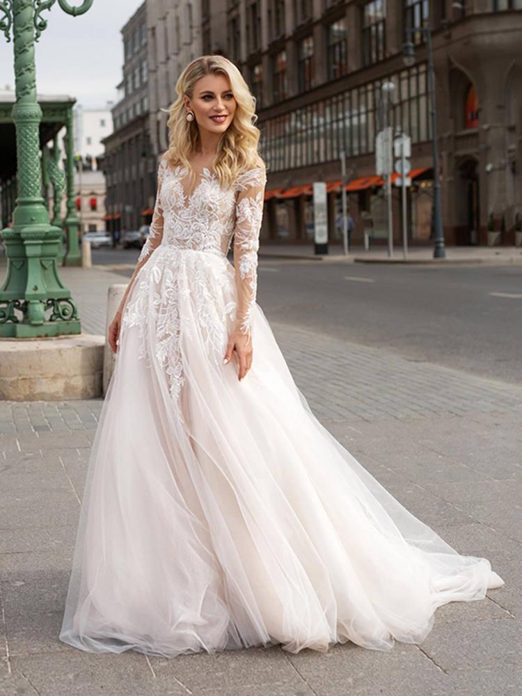 Wedding-Dresses Bridal-Gowns Bohemian Beach Lace Appliques Long-Sleeve Boho V-Neck Vestido-De-Noiva