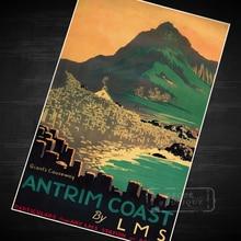 Antrim Coast Pop Map clásico Vintage Retro Kraft lienzo pinturas póster mapas Home carteles para Bar decoración de pared regalo