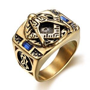 Масонское кольцо из нержавеющей стали 316L, вечерние ювелирные изделия в стиле панк для мужчин