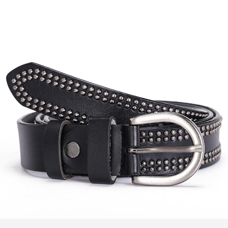 Punk Rivet Women's Belt Fashion Women Female Belt Genuine Leather Strap For Women Female Pin Buckle Belts Vintage For Jeans 2020