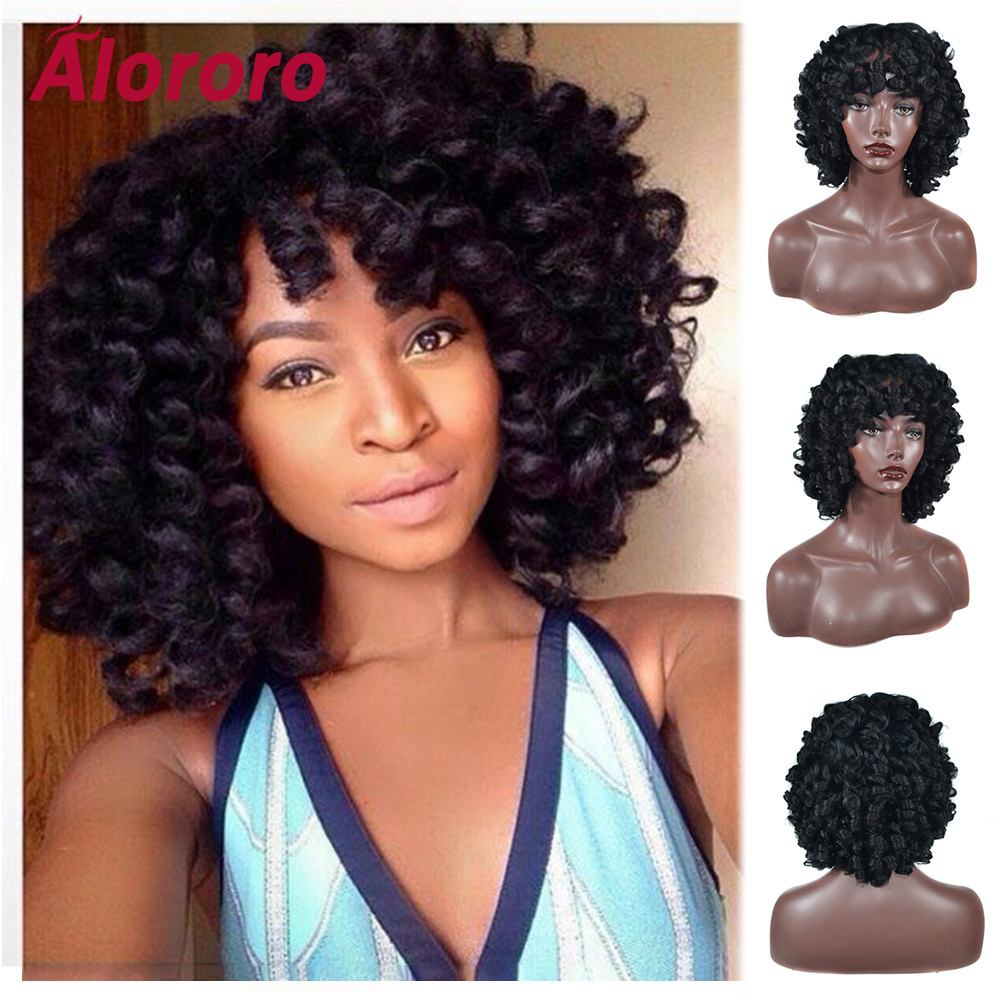 Alororo Afro Black Curly Short Hair Wigs 12'' Fashion African American Synthetic Hair Fulffy Wand Curl Style Wig Hair Extension