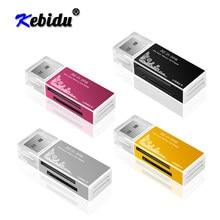 Leitor inteligente de cartões kebidu, leitor de cartões multiem 1 sd/sdhc mmc/rs mmc tf leitor de cartões microsd ms/ms pro/ms duo m2